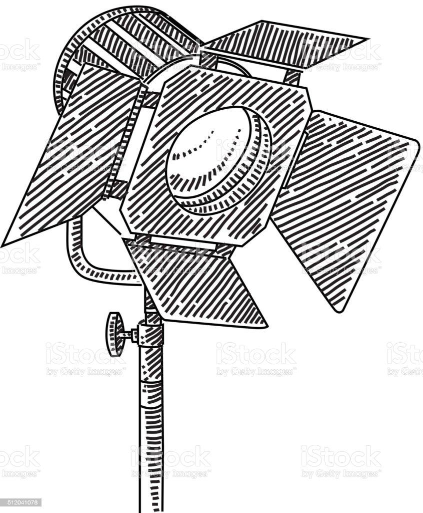 Spotlight Drawing vector art illustration