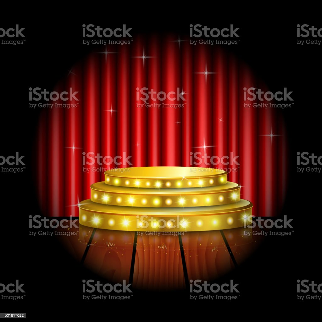 Red curtain spotlight - Spotlight Golden Of Empty Stage With Red Curtain Background Royalty Free Stock Vector Art