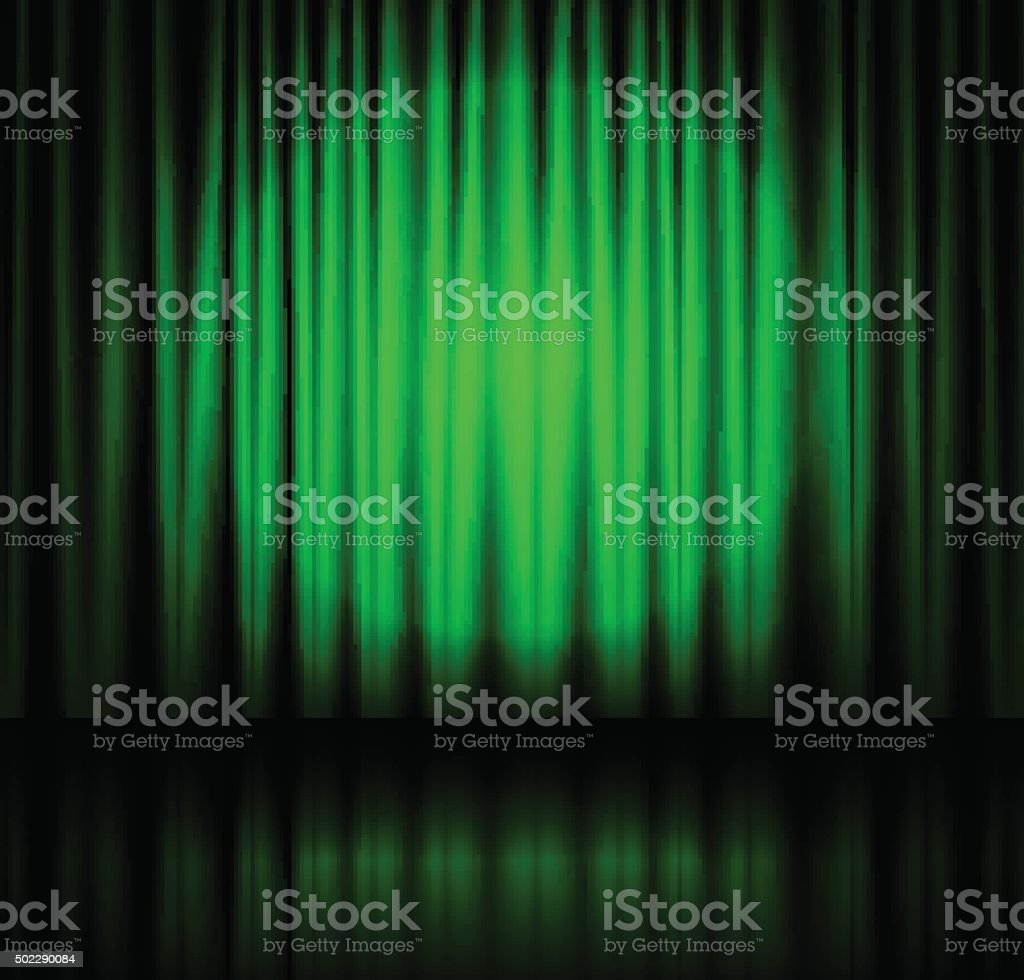 Green stage curtains - Spotlight On Green Stage Curtain Royalty Free Stock Vector Art