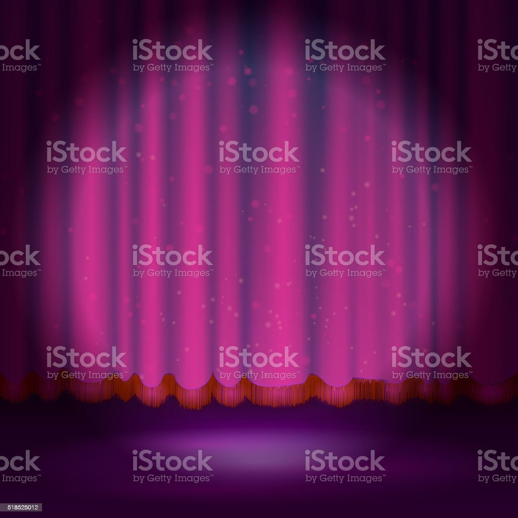 Spotlight on magenta stage curtain vector art illustration