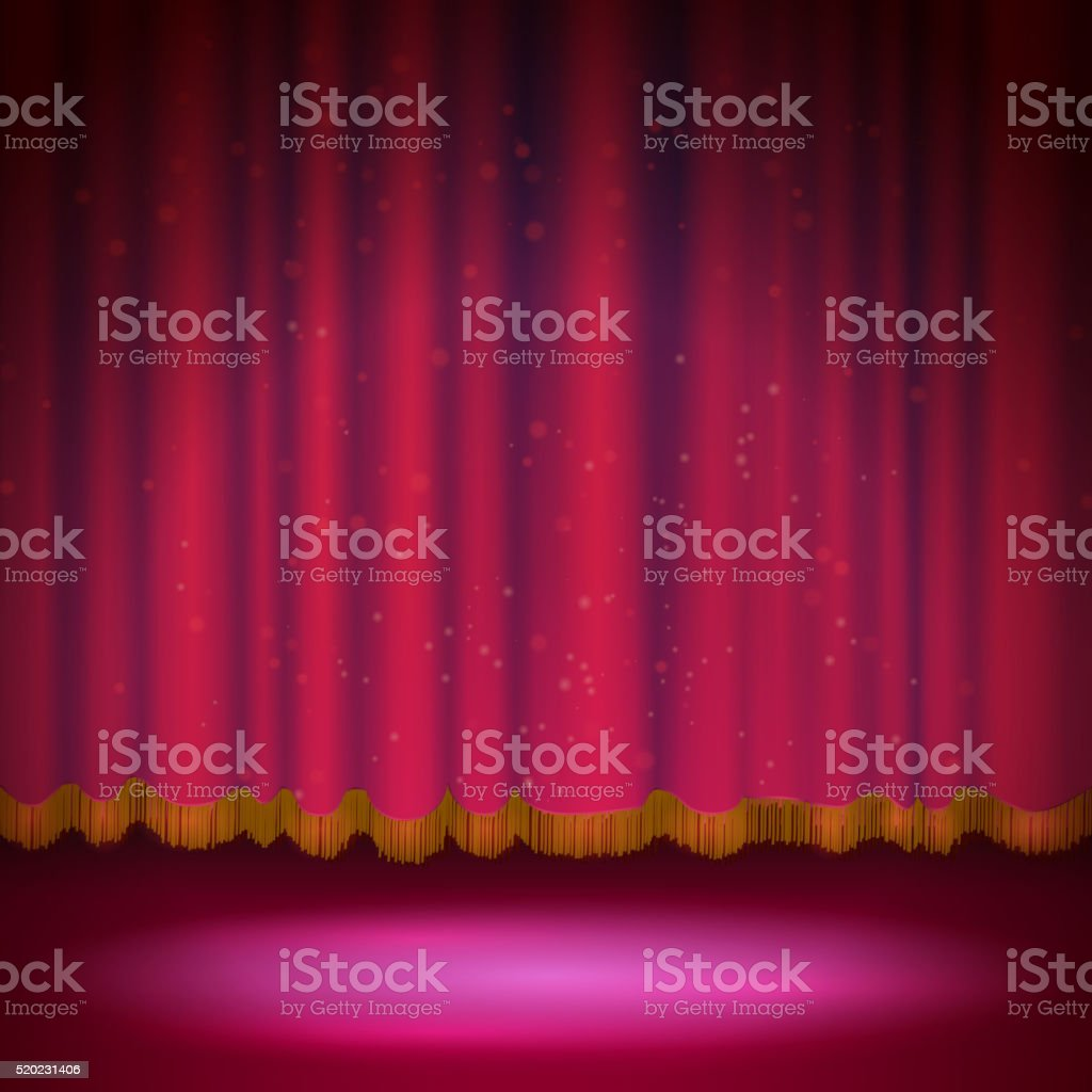 Stage curtains spotlight - Spotlight On Red Stage Curtain Royalty Free Stock Vector Art