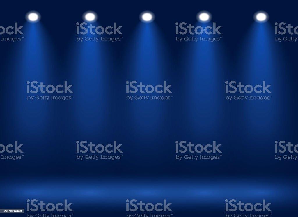 Spotlight on stage for your design. Colorful light. vector art illustration