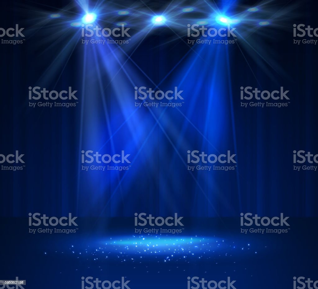 Spotlight on stage with smoke and light. vector art illustration