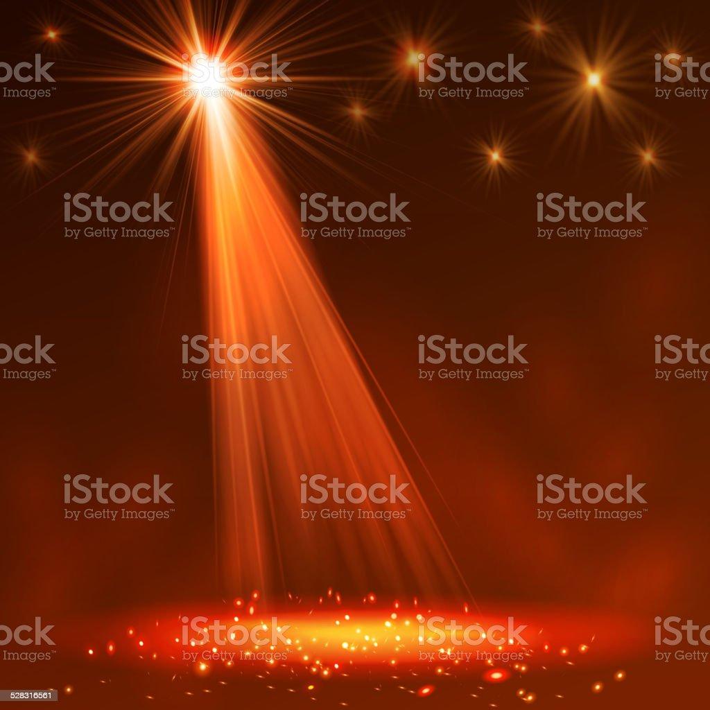 Spotlight on stage with smoke  light. vector art illustration