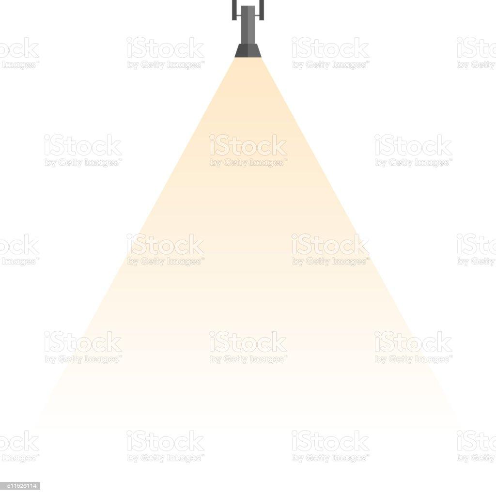 Spotlight shines down isolated on white background. vector art illustration