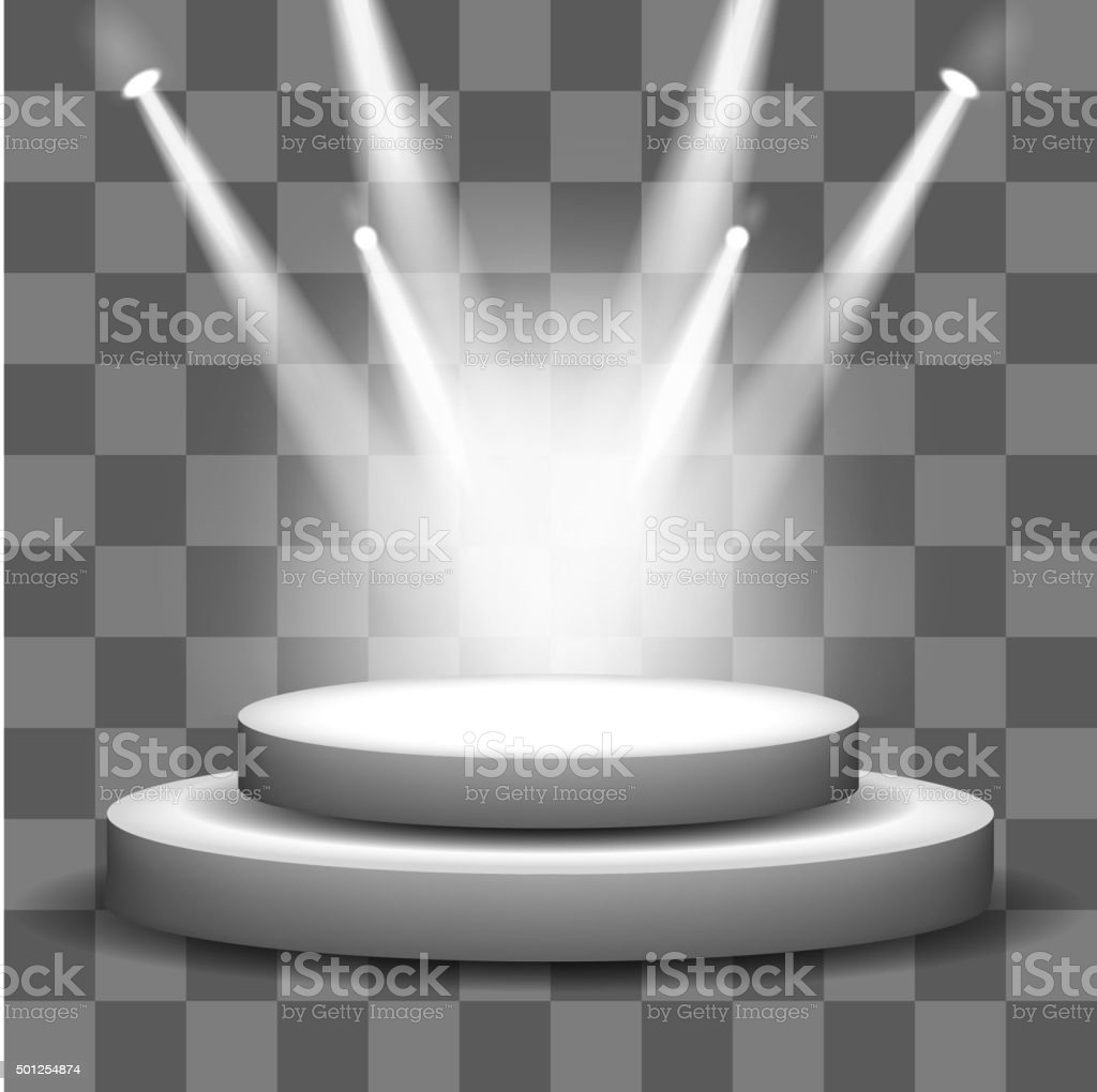 Spotlight shining on empty stage transparency background vector art illustration