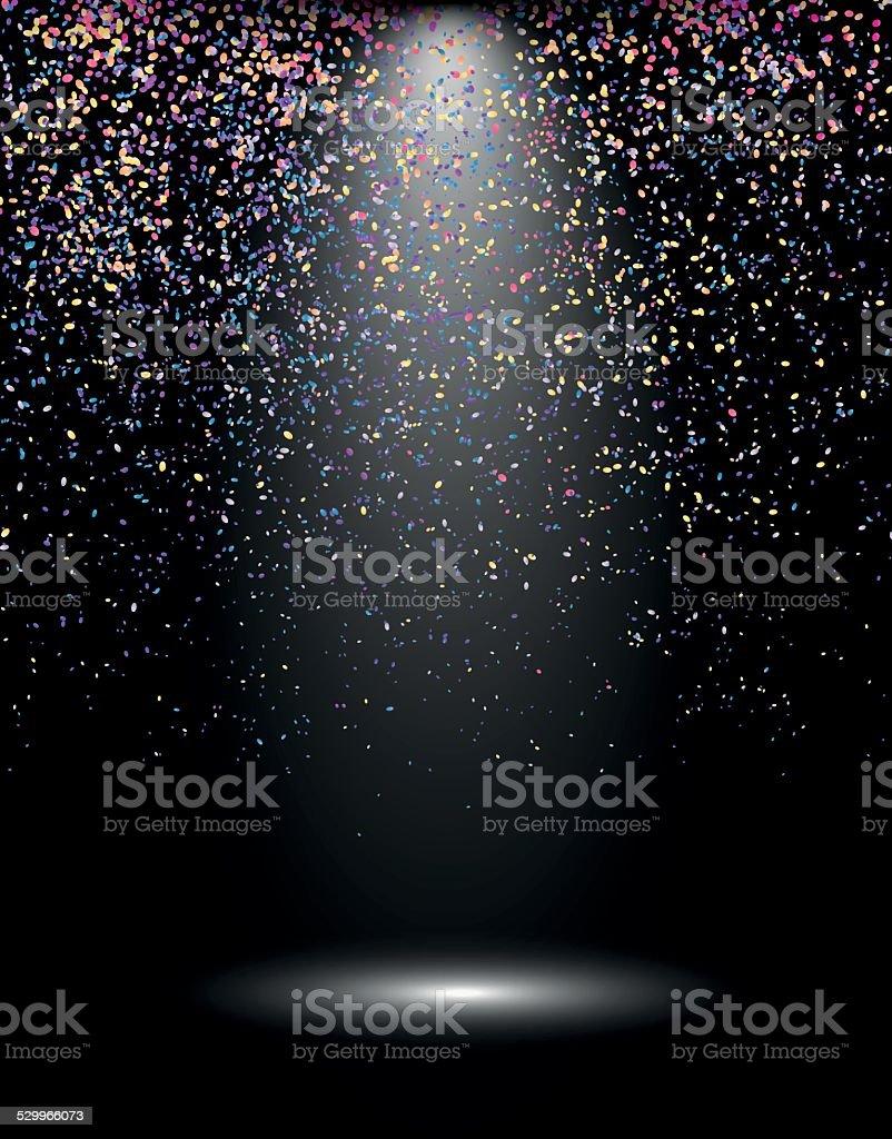 Spotlight with confetti explosion, celebration background vector art illustration