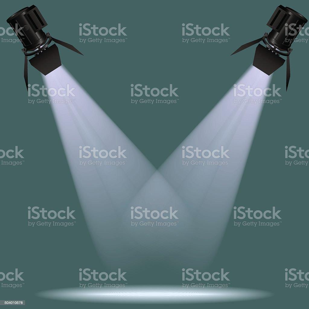 spotlights on scene.Vector illustration. vector art illustration