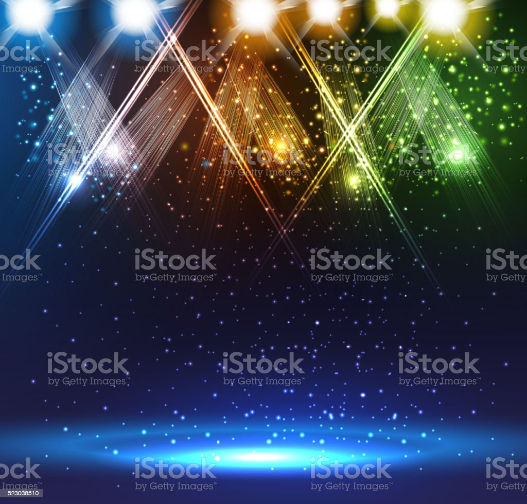 Spotlights on stage vector art illustration