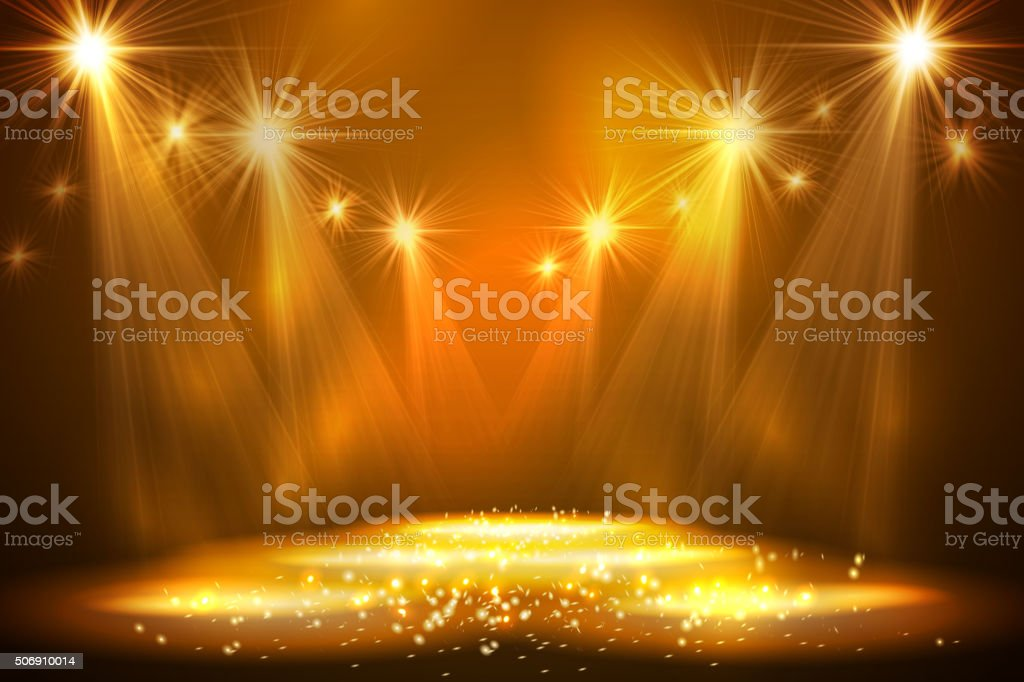 Spotlights on stage with smoke light vector art illustration