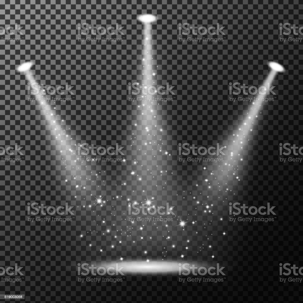 Spotlights shining with sprinkles on transparent background vector art illustration