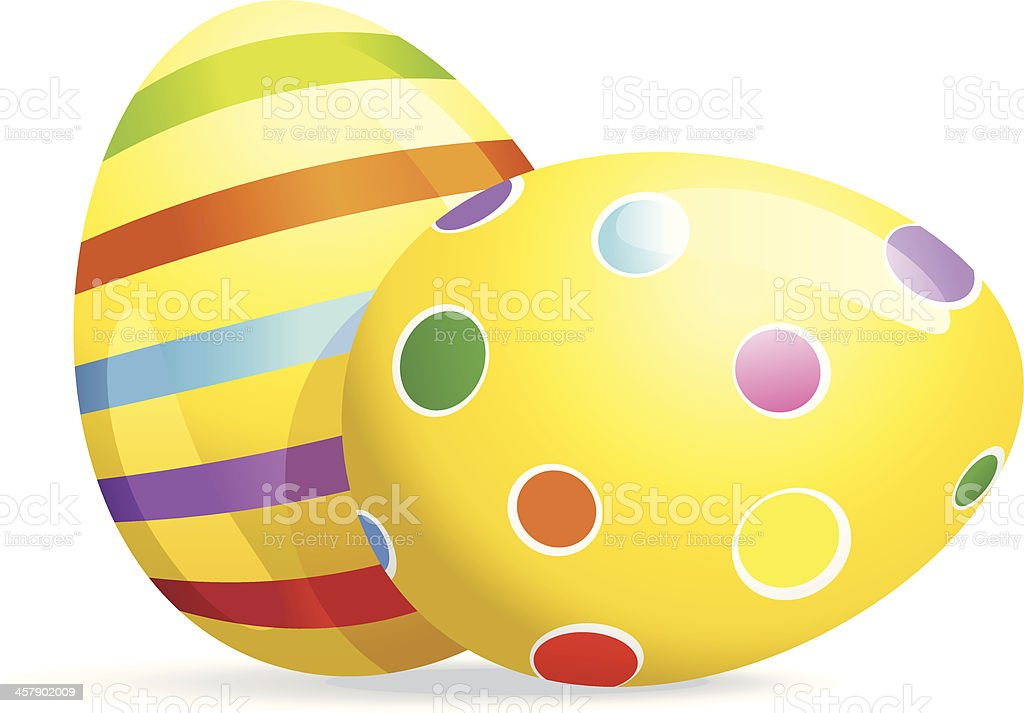 Spotted and Striped painted Easter Eggs royalty-free stock vector art