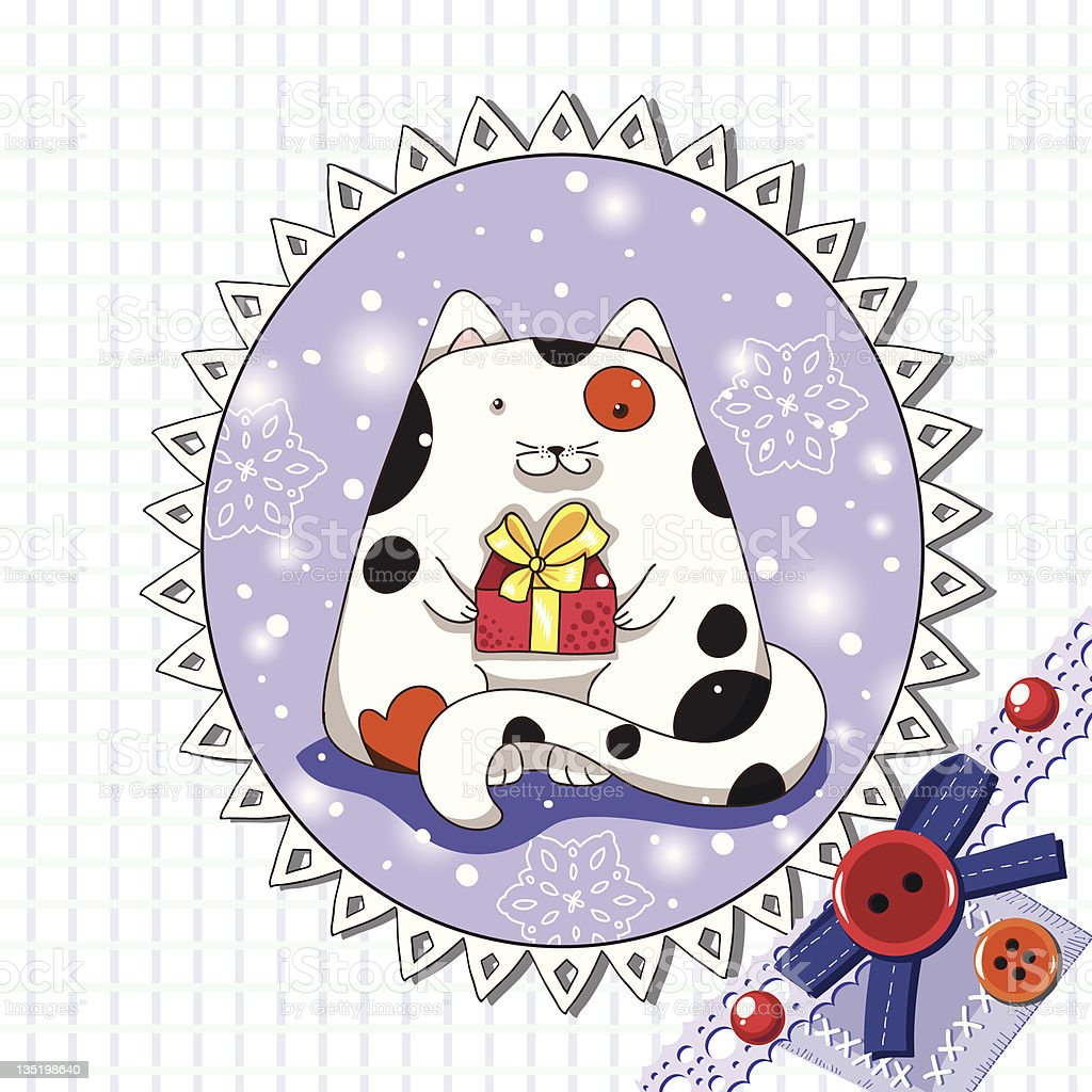 Spotted Christmas cat with gift royalty-free stock vector art