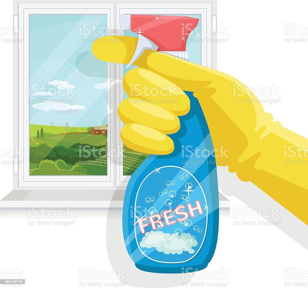 Spray bottle in hand. Vector flat illustration vector art illustration