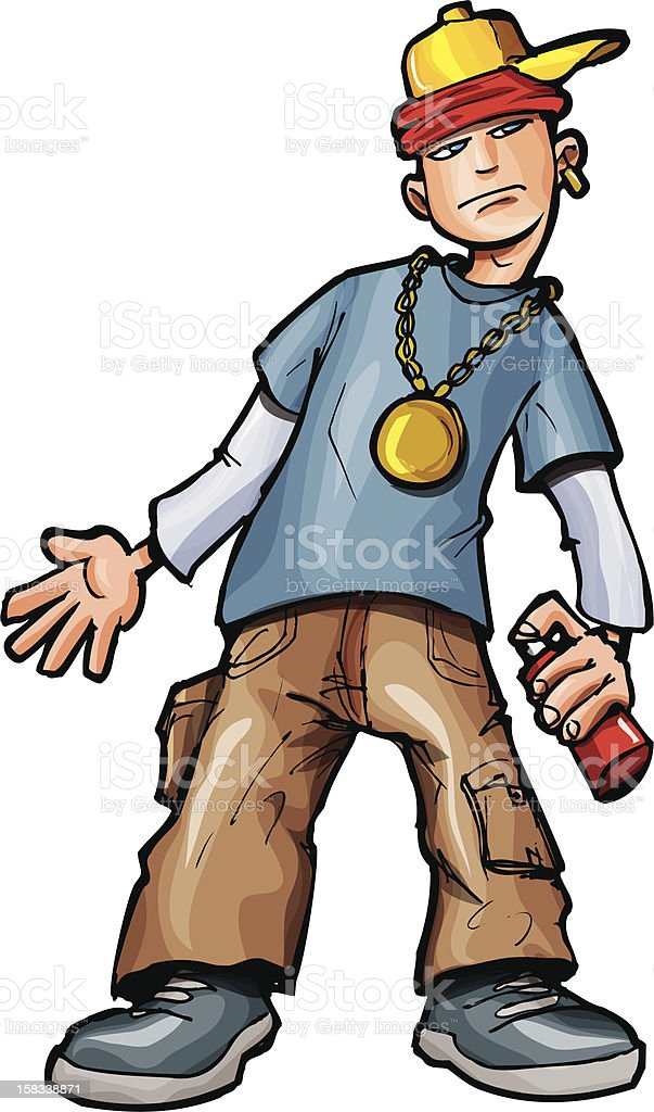 Spray can teen wearing bling royalty-free stock vector art