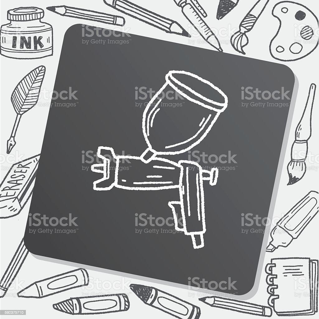 spray gun doodle vector art illustration