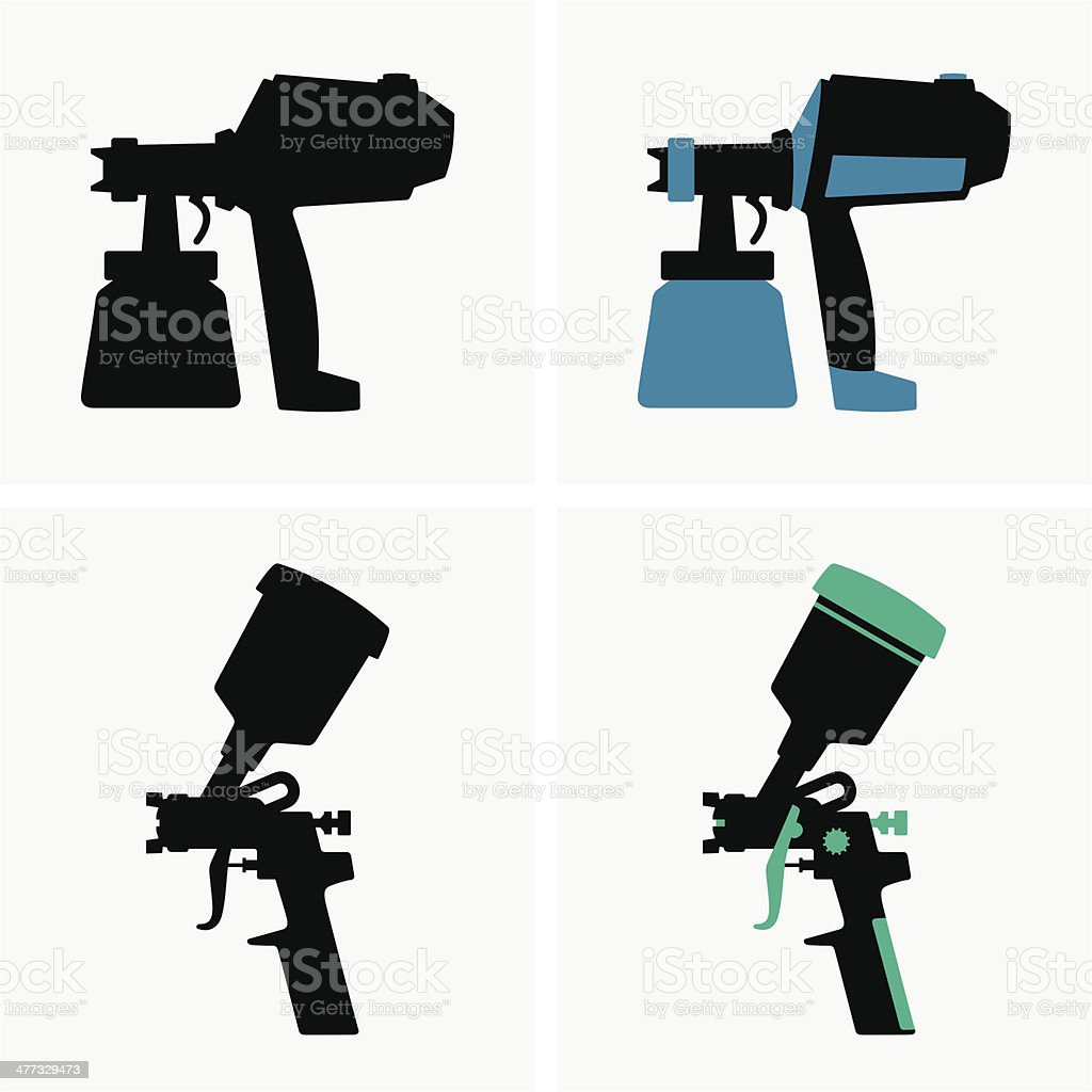 Spray guns vector art illustration