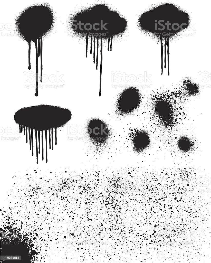 Spray Paint Drips and Splatters vector art illustration