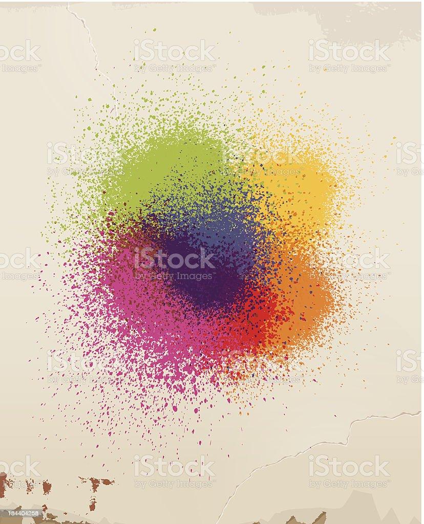 Spray paint & old wall. vector art illustration