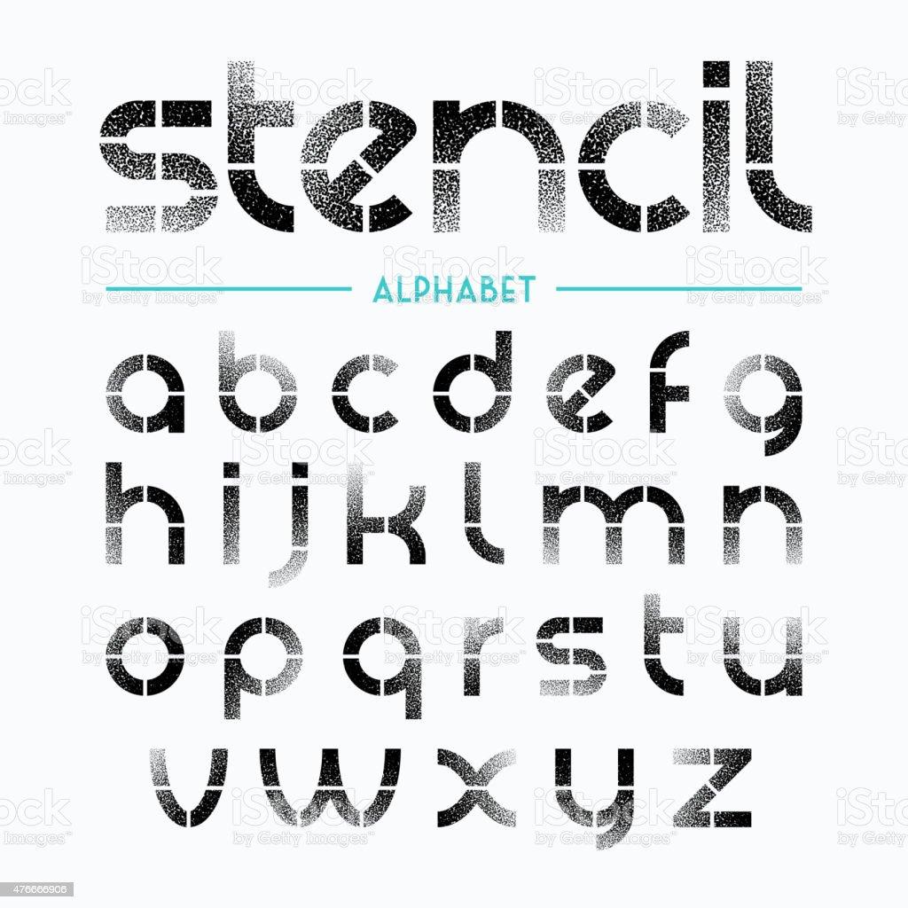 Spray painted stencil alphabet letters vector art illustration