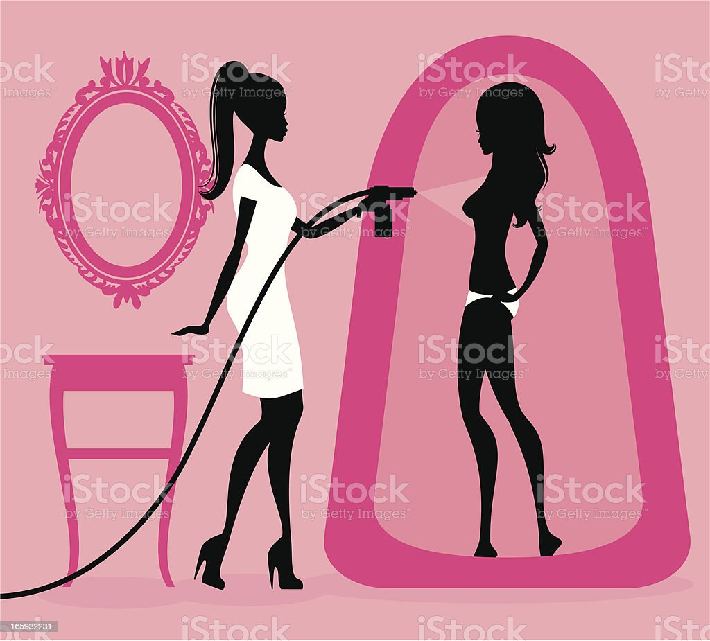 Spray Tanning vector art illustration
