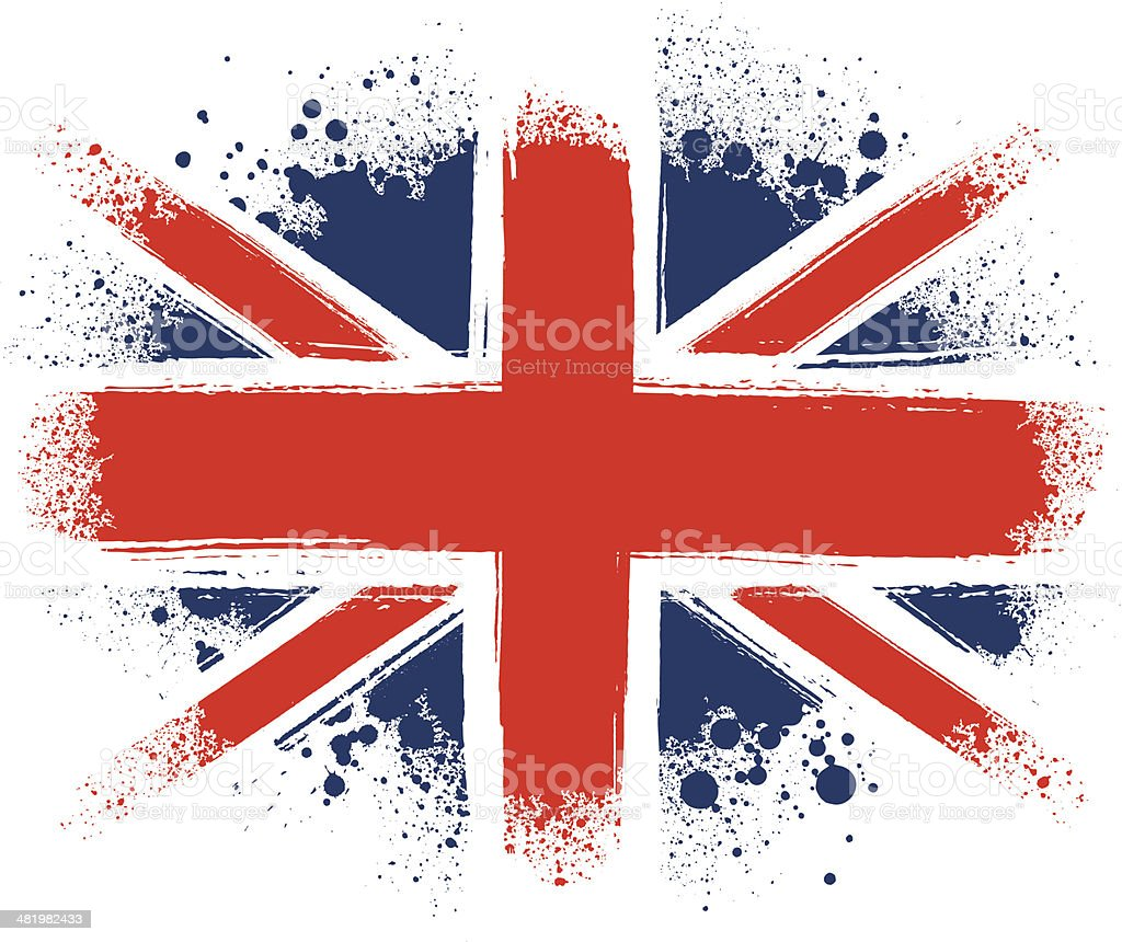 Spraypainted Union Jack vector art illustration