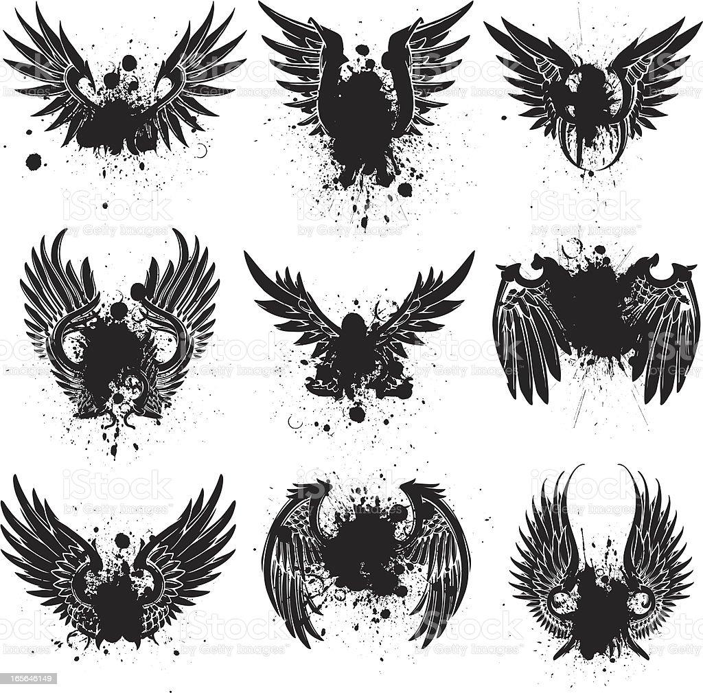 spread wing splatter vector art illustration
