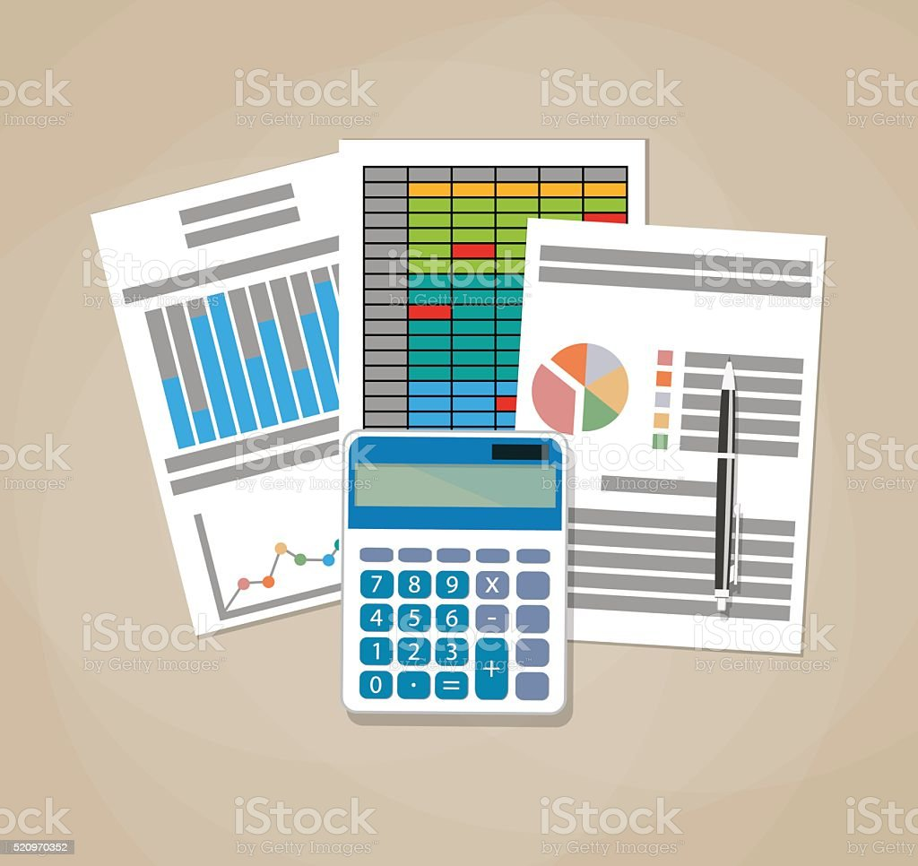 Spreadsheet concept. Business background vector art illustration