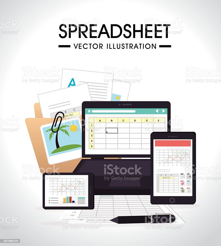 Spreadsheet design, vector illustration. vector art illustration