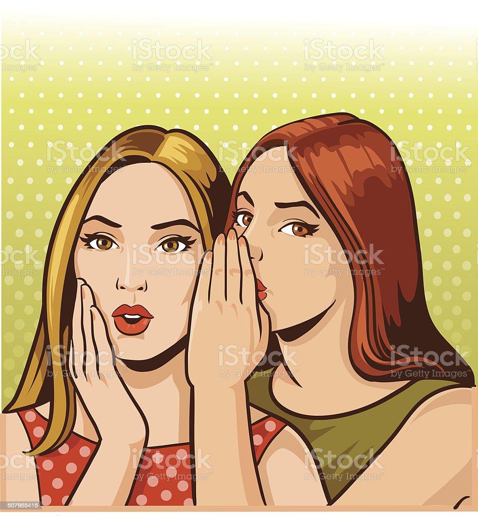 Spreding a Little Gossip vector art illustration