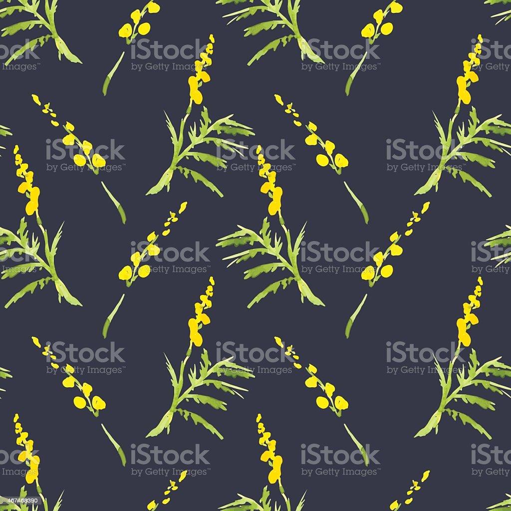Sprig Mimosa, Spring Watercolor Background vector art illustration