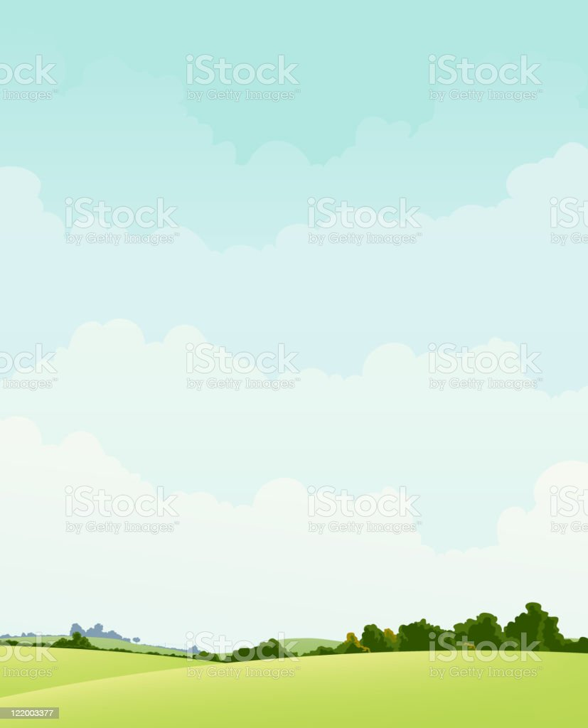 Spring And Autumn Landscape vector art illustration