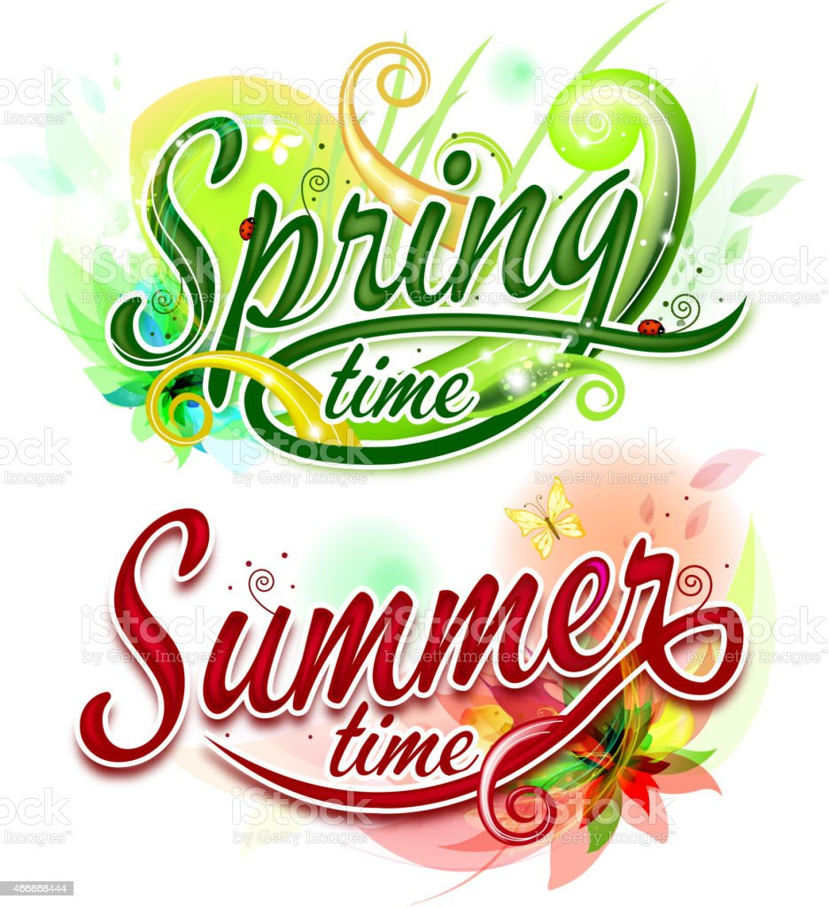 Spring and Summer banners vector art illustration
