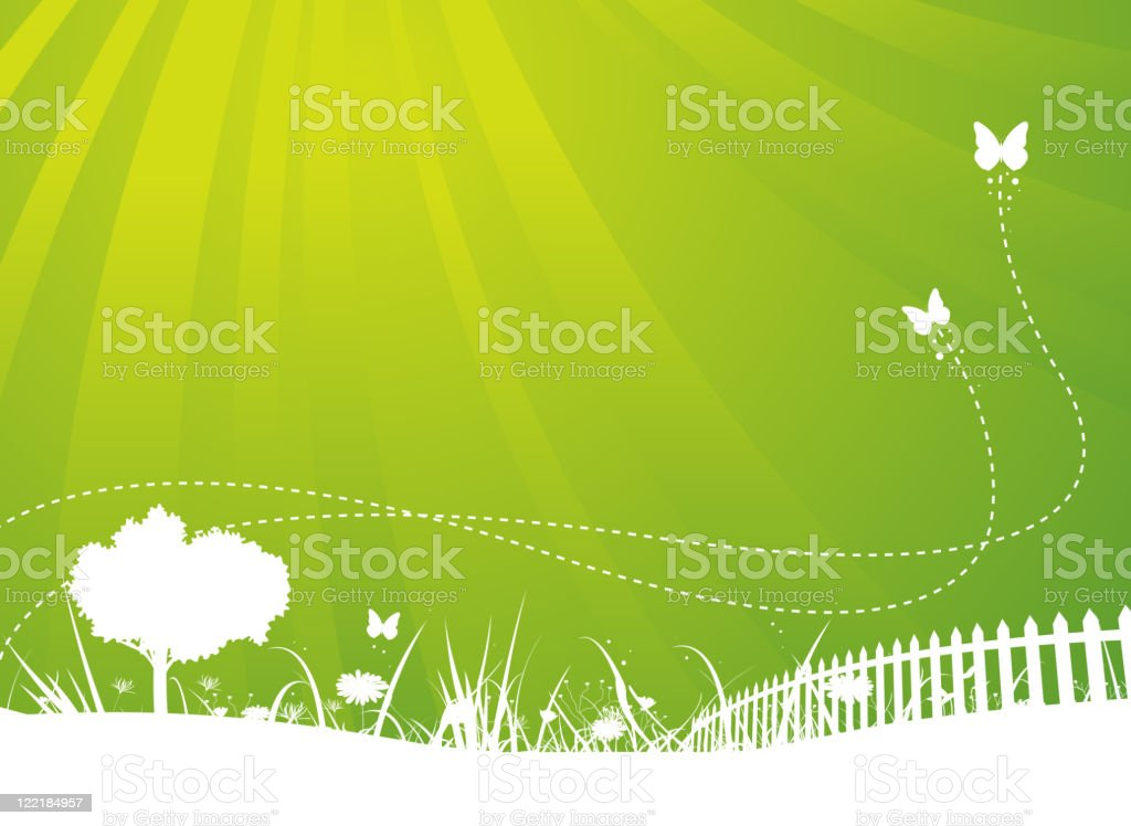 Spring And Summer Butterflies Garden Background royalty-free stock vector art