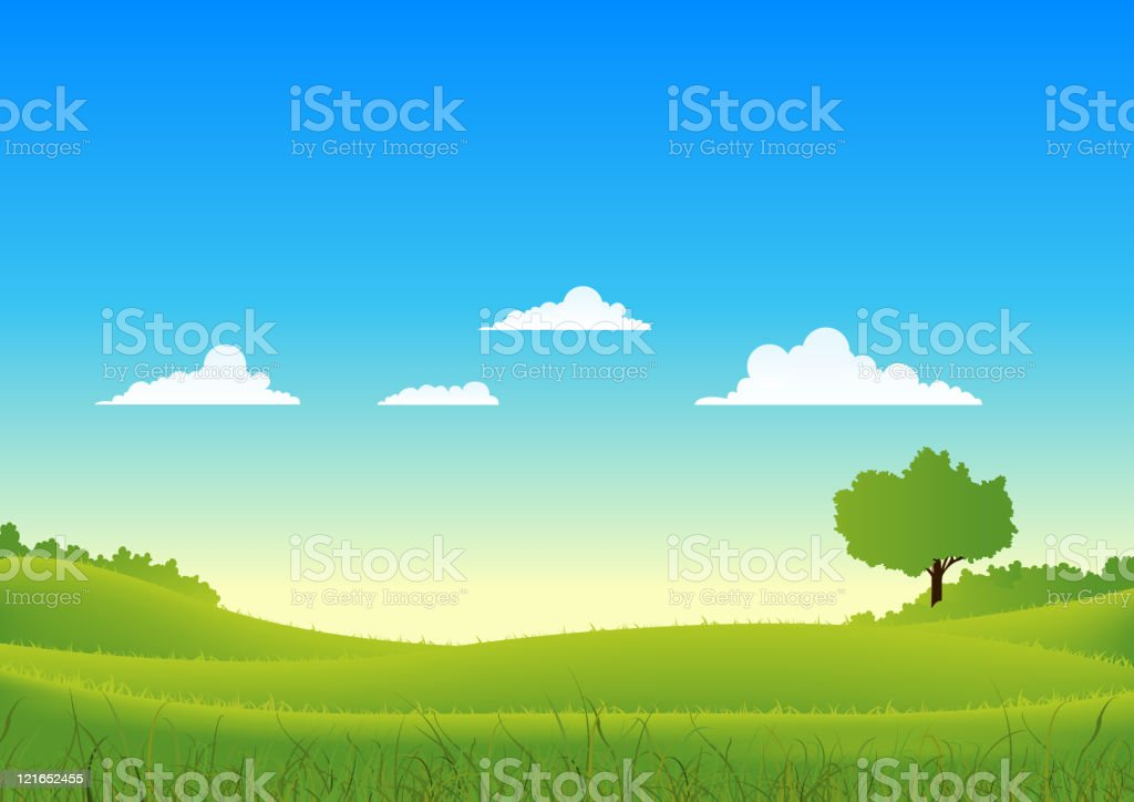 Spring And Summer Country Landscape royalty-free stock vector art