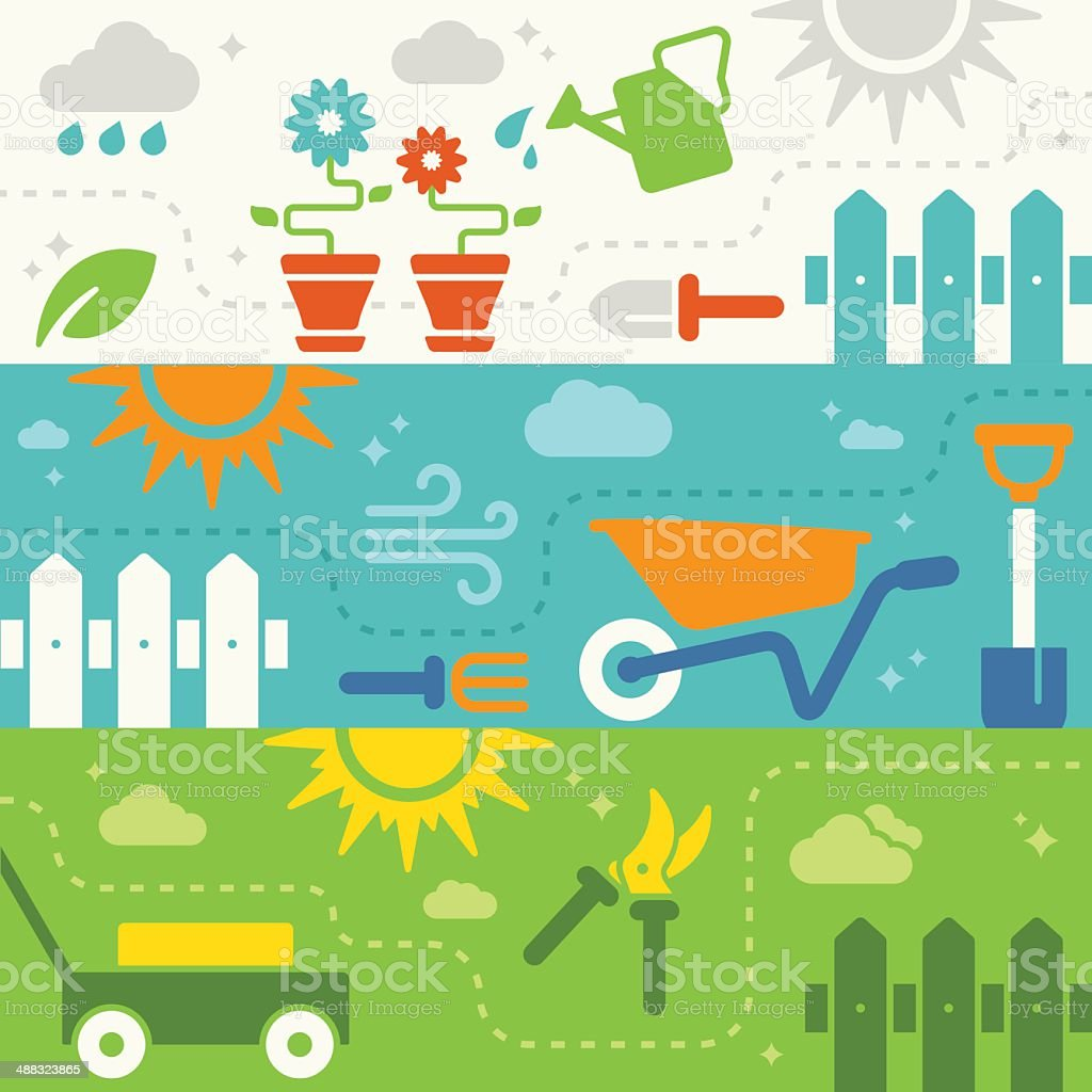 Spring and Summer Garden Banners vector art illustration