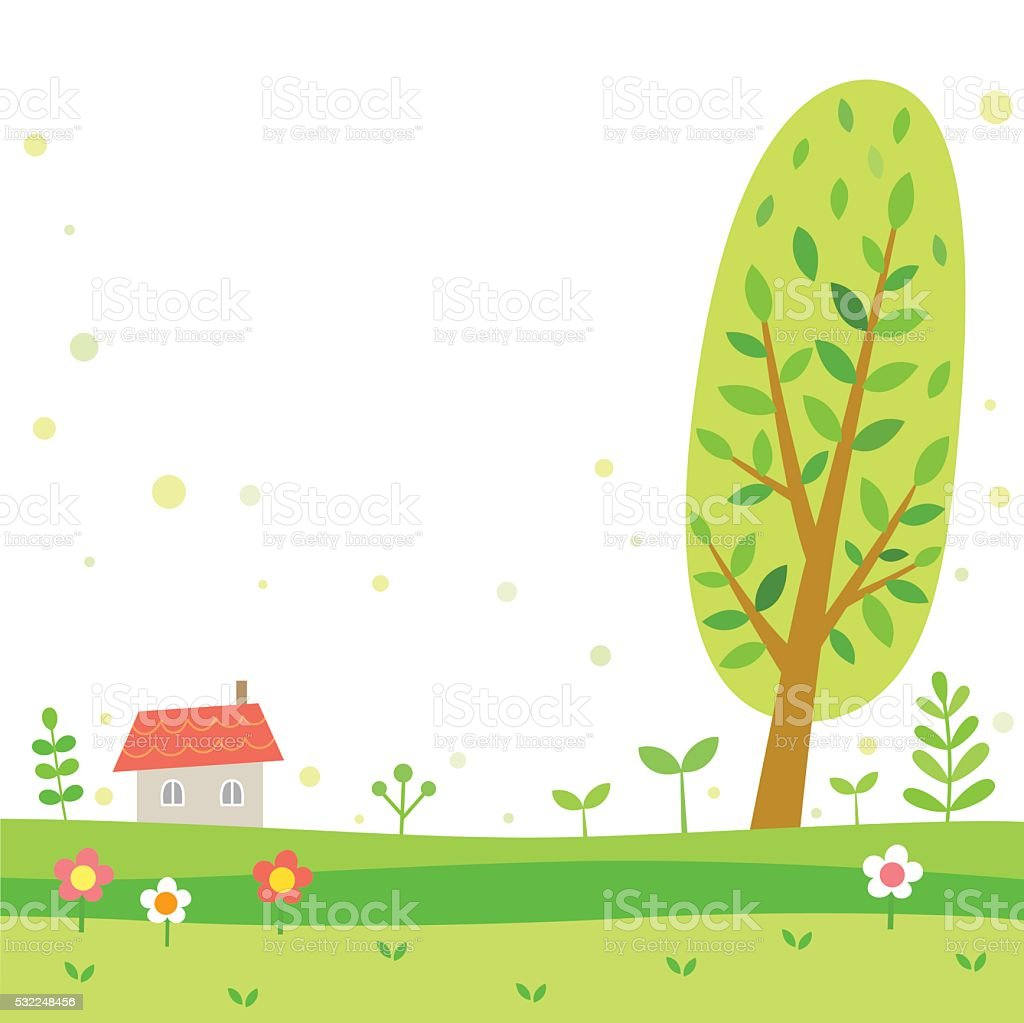 Spring and summer scenery with tree and house vector art illustration