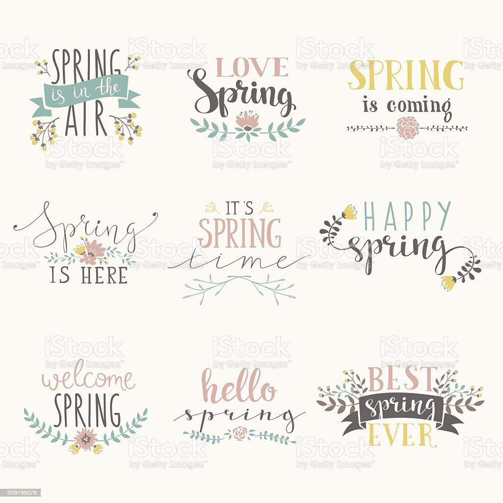 Spring art text composition vector illustration vector art illustration