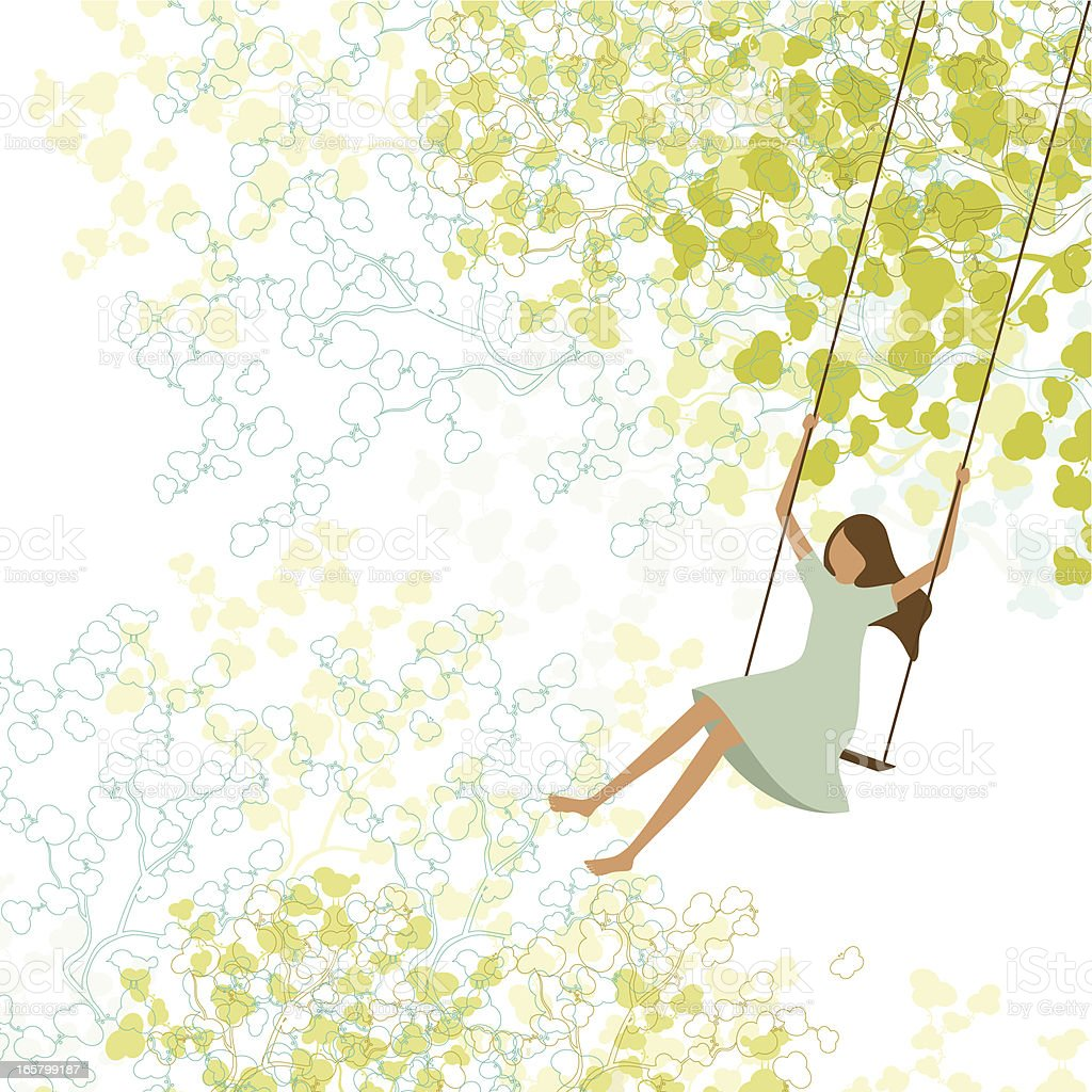 Spring background and child swing royalty-free stock vector art
