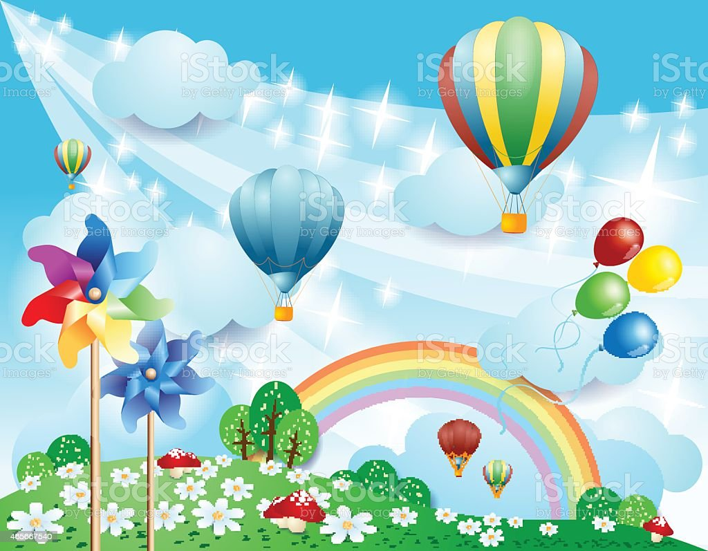 Spring background with balloons and pinwheels vector art illustration
