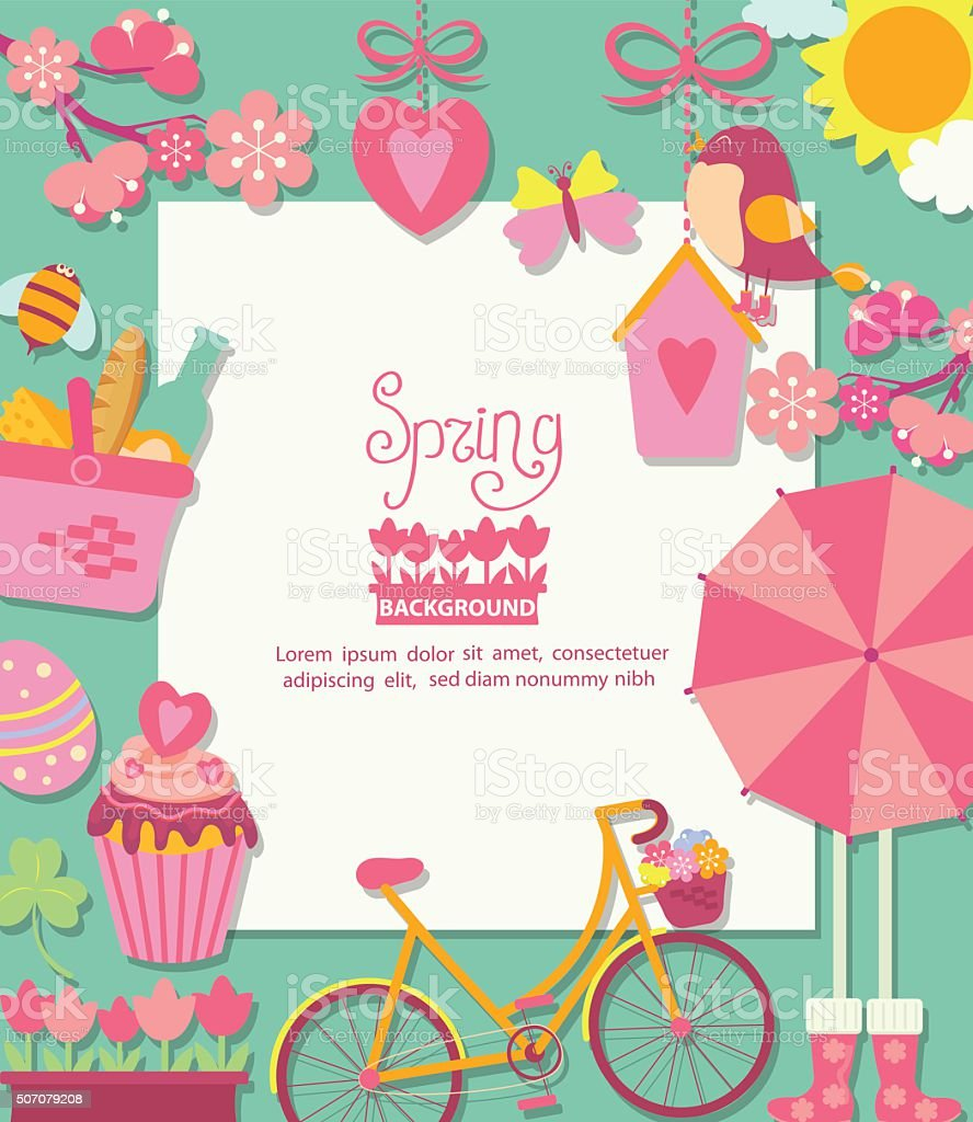 Spring background with cuteicons and frame for text design. vector art illustration