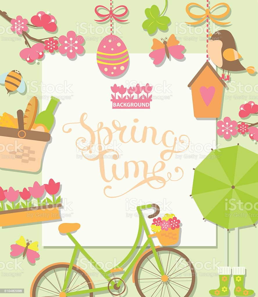 Spring background with cuteicons. vector art illustration