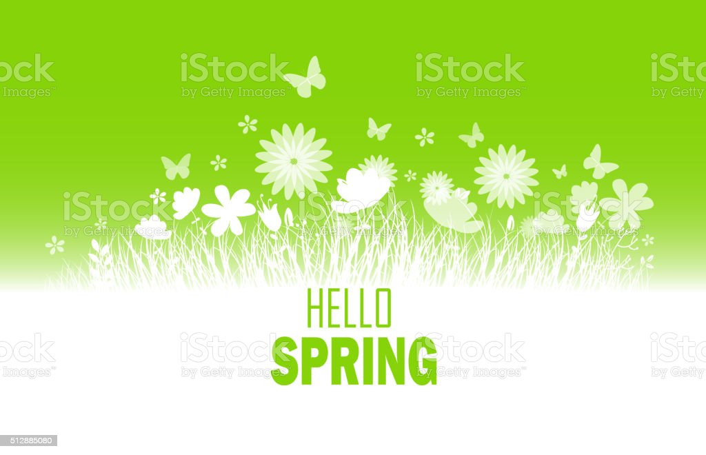 Spring background with flower, butterflies and grass silhouette vector art illustration
