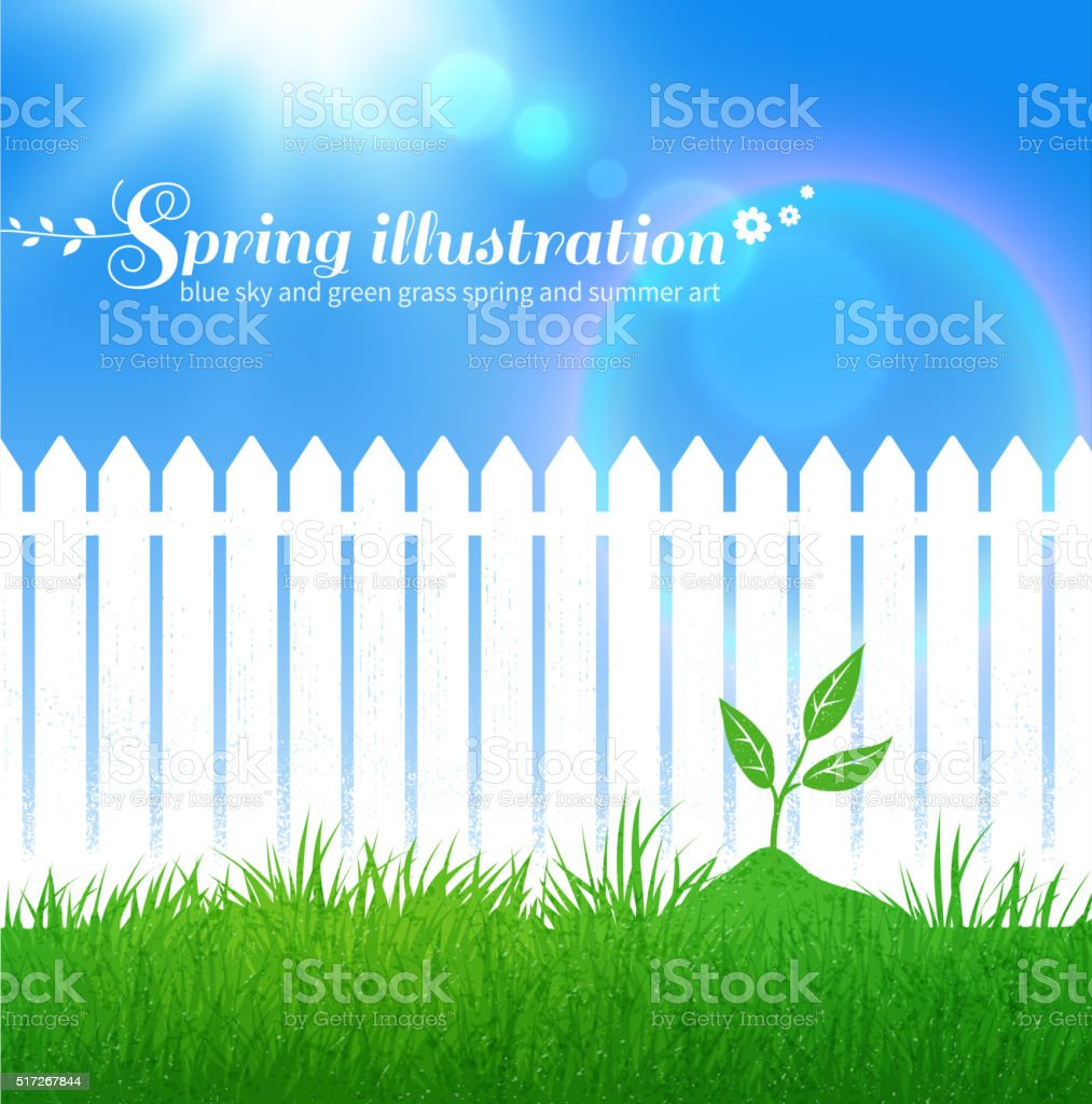 Spring background with growing sprout vector art illustration