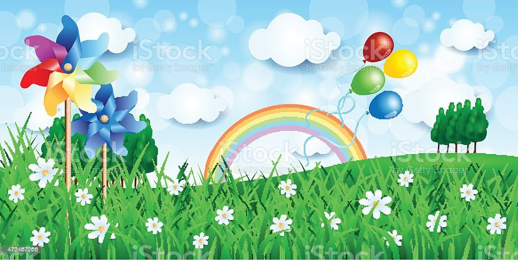 Spring background with pinwheels and balloons vector art illustration
