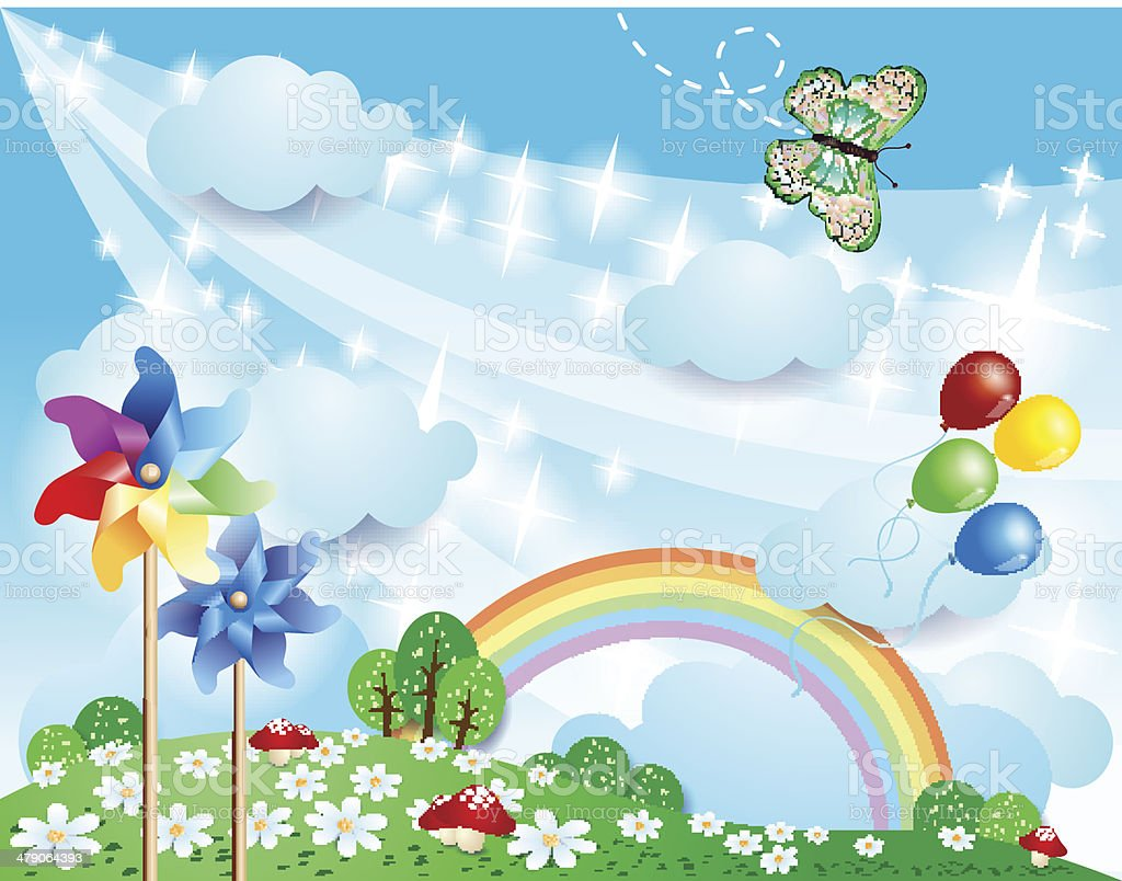 Spring background with pinwheels and butterfly vector art illustration
