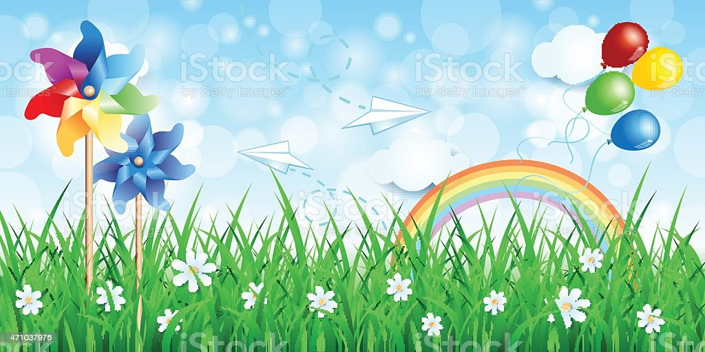 Spring background with pinwheels and rainbow vector art illustration