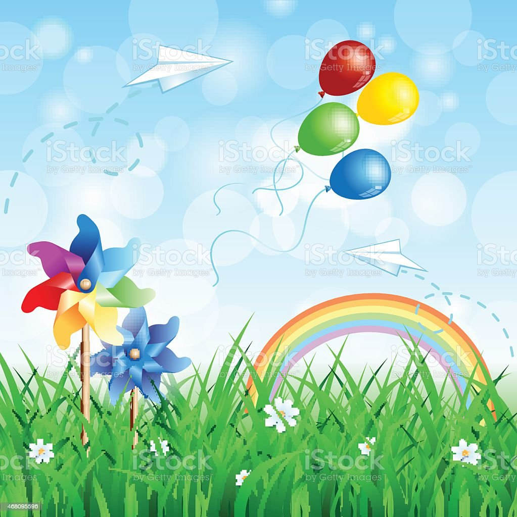 Spring background with pinwheels vector art illustration