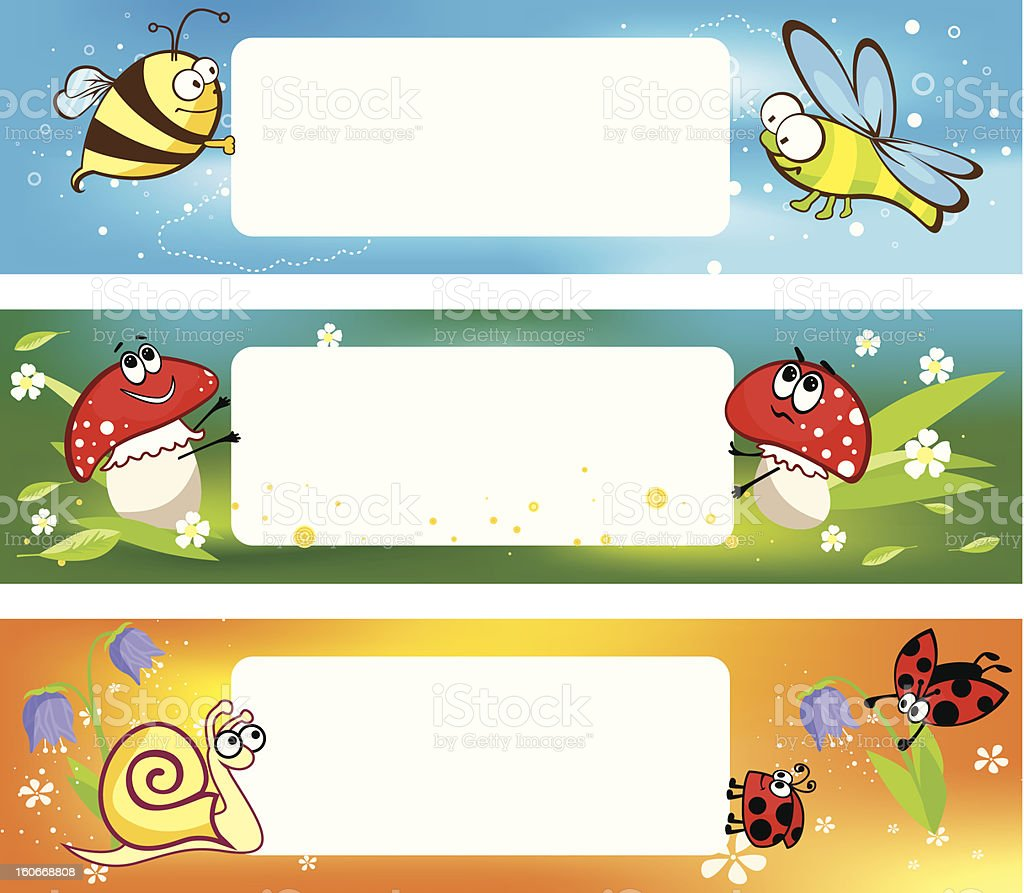Spring banners with funny insects royalty-free stock vector art