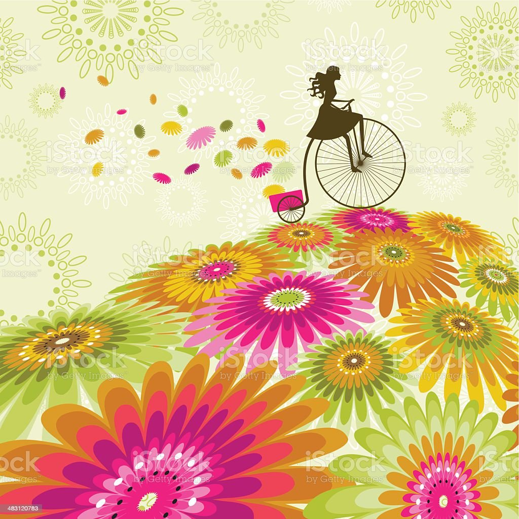 Spring biking royalty-free stock vector art